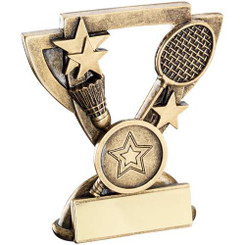 Brz/Gold Badminton Mini Cup Trophy - (1In Centre) 3.75In