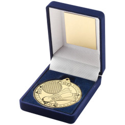 Blue Velvet Box And 50Mm Medal Badminton Trophy - Gold - 3.5In