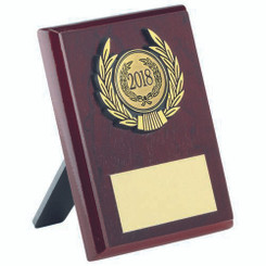 Rosewood Plaque And Gold Trim Trophy - (1In Centre) 4In