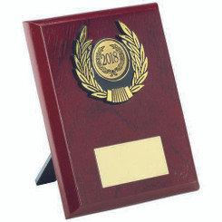Rosewood Plaque And Gold Trim Trophy - (1In Centre) 5In