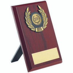 Rosewood Plaque And Gold Trim Trophy - (1In Centre) 6In
