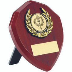 Rosewood Shield And Gold Trim Trophy - (1In Centre) 4In