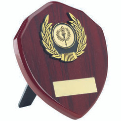 Rosewood Shield And Gold Trim Trophy - (1In Centre) 5In