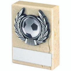 Cream Marble And Silver Trim Trophy - (1In Centre) 3In