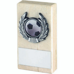 Cream Marble And Silver Trim Trophy - (1In Centre) 4In