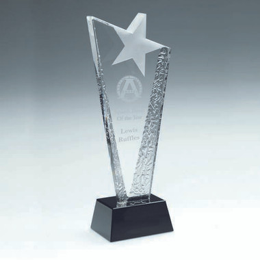 Clear Glass Plaque With Frosted Star On Black Base - 10.5In