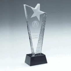 Clear Glass Plaque With Frosted Star On Black Base - 11.5In
