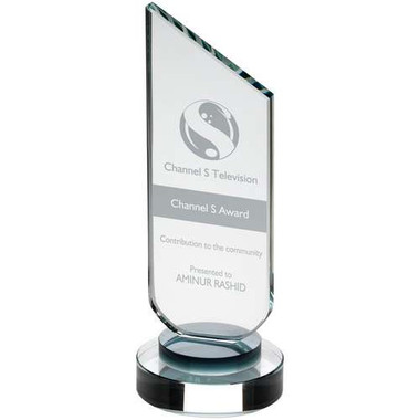 Clear Glass Plaque With Black Neck And Round Base - 8.75In
