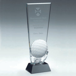 Clear Glass Golf Plaque With Club And Ball Detail On Black Base - 8.75In