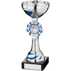 Silv/Blue Round Wreath Trophy - (1In Centre) 8In