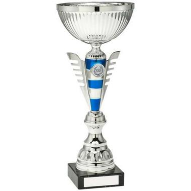 Silv/Blue Stripey Stem Trophy - (1In Centre) 11.25In
