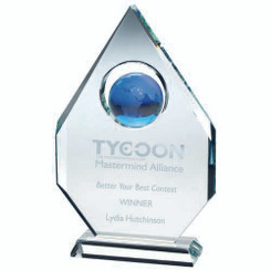 Clear Glass Diamond Plaque With Blue Globe -  (15Mm Thick) 9In
