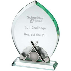 Jade Glass Golf Plaque With Removable Base    (10Mm Thick) - 8.75In
