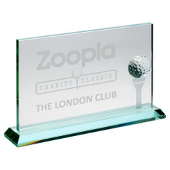 Jade Glass Rectangle With Golf Ball And Frosted Tee (10Mm Thick) - 7 X 11In