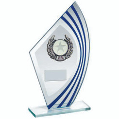 Jade/Blue/Silver Sail Glass With Silv/Blk Wreath Trim Trophy - (1In Cen) 9.5In