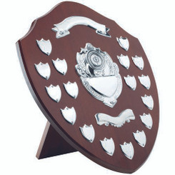 Mahogany Shield With Chrome Fronts And 17 Record Shields (1In Centre) - 16In