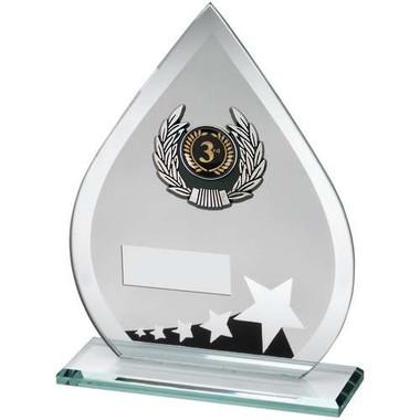 Jade/Blk/Silv Glass Teardrop Plaque With Silv/Blk Trim Trophy - (1In Cen) 8In
