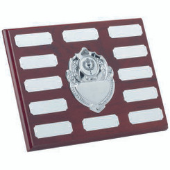 Rosewood Plaque With Chrome Fronts And 12 Plates (1In Centre) - 6 X 8In