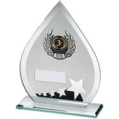 Jade/Blk/Silv Glass Teardrop Plaque With Silv/Blk Trim Trophy - (1In Cen) 7.25In