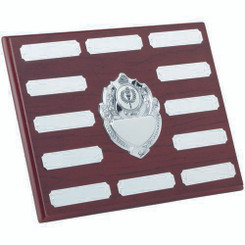Rosewood Plaque With Chrome Fronts And 12 Plates (1In Centre) - 7 X 9In