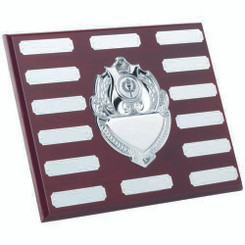 Rosewood Plaque With Chrome Fronts And 14 Plates (1In Centre) - 8 X 10In