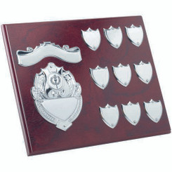 Rosewood Plaque With Chrome Fronts And 9 Record Shields (1In Centre) - 8 X 10In