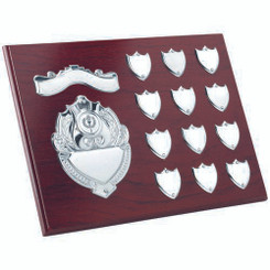 Rosewood Plaque With Chrome Fronts And 12 Record Shields (1In Centre) - 9 X 12In