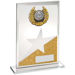 Jade/Gold/Silv Glass Plaque With Silv/Blk Trim Trophy - (1In Centre) - 8In