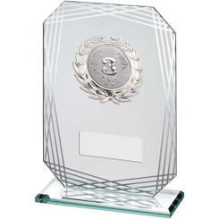 Jade/Silver Rectangle Glass With Silver Trim Trophy - (2In Centre) - 7.5In