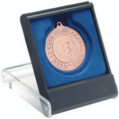 Black/Clear Medal Box - Small (40/50Mm Recess Blue Insert) 3.5In