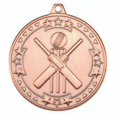 Cricket 'Tri Star' Medal - Bronze 2In
