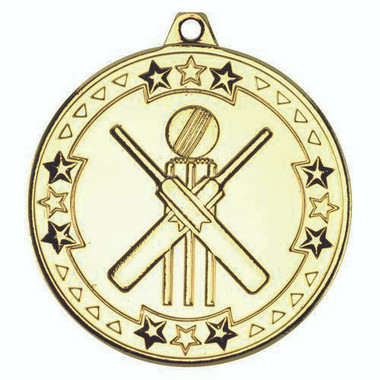 Cricket 'Tri Star' Medal - Gold 2In