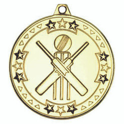 Cricket 'Tri Star' Medal - Gold 2In