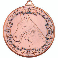 Horse 'Tri Star' Medal - Bronze 2In