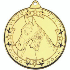 Horse 'Tri Star' Medal - Gold 2In