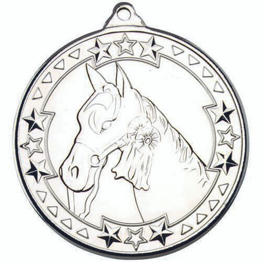 Horse 'Tri Star' Medal - Silver 2In