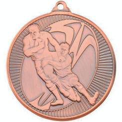 Rugby 'Multi Line' Medal - Bronze 2In