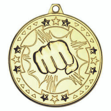 Martial Arts 'Tri Star' Medal - Gold 2In