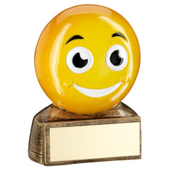 Brz/Yellow 'Smiling Emoji' Figure Trophy - 2.75In