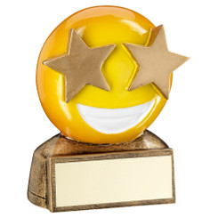 Brz/Yellow 'Star Eyes Emoji' Figure Trophy - 2.75In