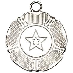 Tudor Rose Medal (1In Centre) - Silver 2In TD19-289-M519S