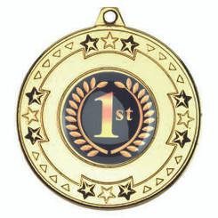 Tri Star Medal (1In Centre) - Gold 2In
