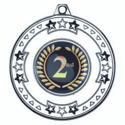 Tri Star Medal (1In Centre) - Silver 2In