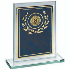 Jade Glass Plaque With Blue/Gold Aluminium Front Trophy - (1In Centre) 6In