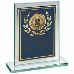 Jade Glass Plaque With Blue/Gold Aluminium Front Trophy - (2In Centre) 7In
