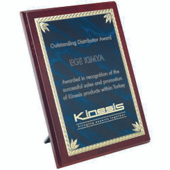 Rosewood Plaque With Blue/Gold Aluminium Front - 9In