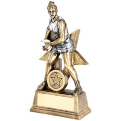 Brz/Pew/White Female Netball Figure With Star Backing Trophy (1In Centre) - 6In