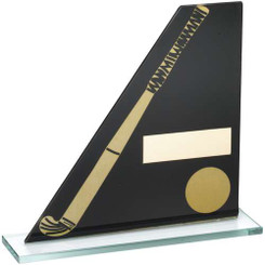 Black/Gold Printed Glass Plaque With Hockey Stick/Ball Trophy - 7.25In