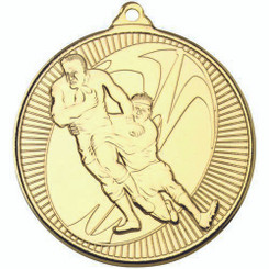 Rugby 'Multi Line' Medal - Gold 2In