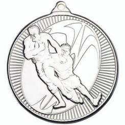 Rugby 'Multi Line' Medal - Silver 2In